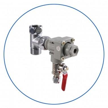 """Regulator ciśnienia 1/2"""" GZ x 1/2"""" GW x 1/4"""" pod przewód - komplet z przyłączem zasilającym i zaworem kulowym SEWBV1414."""