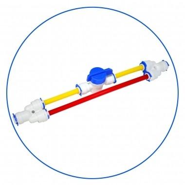 """Zestaw do płukania membran RO, 1/4"""" QC. RO FR-FLUSH zawiera BY-PASS. Montowany do ogranicznika przepływu. Umożliwia wypłukiwanie osadów z membrany RO, wydłużając jej żywotność."""