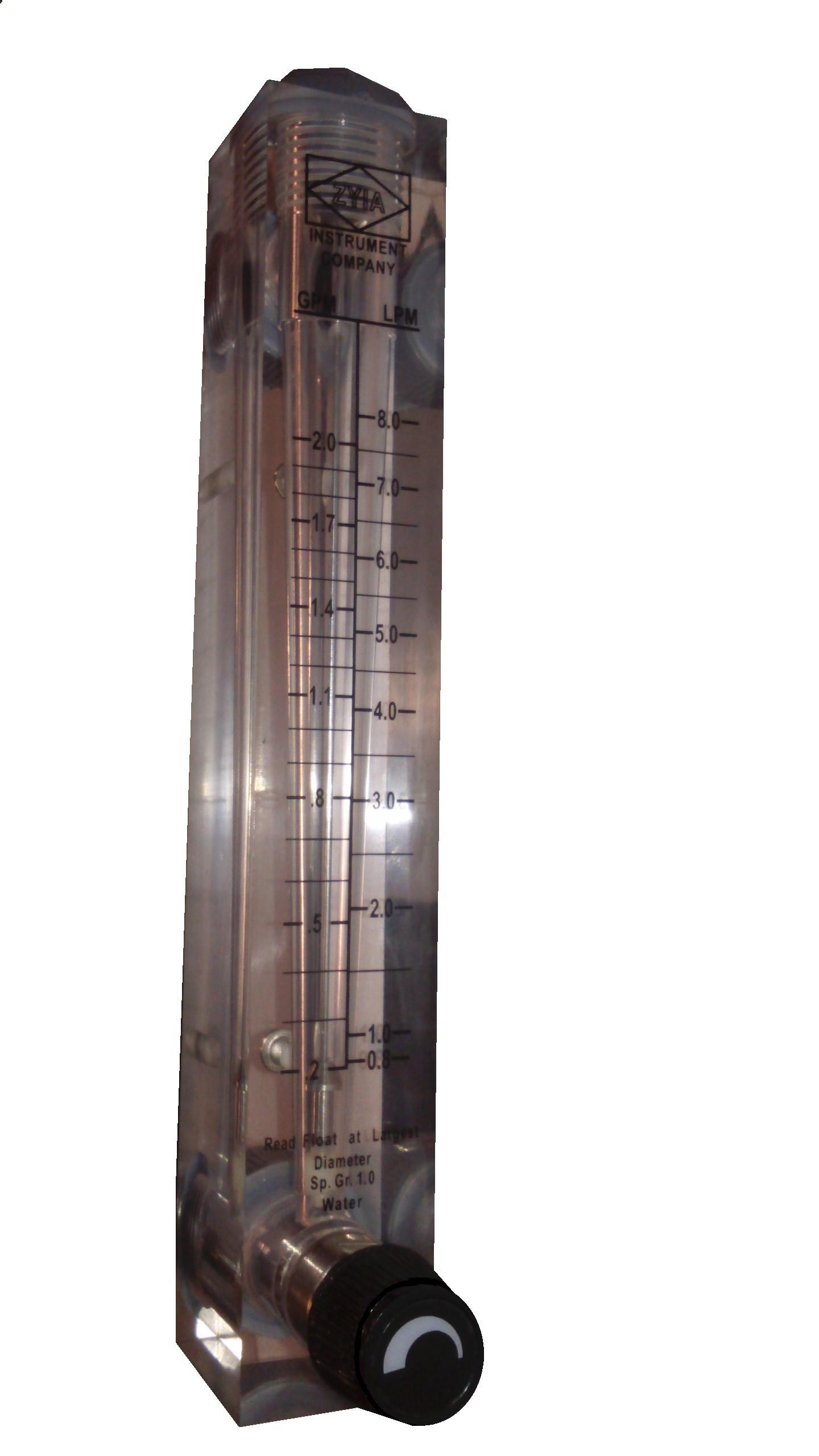Rotametr z regulacją do wody 0,2 - 2,0 GPM